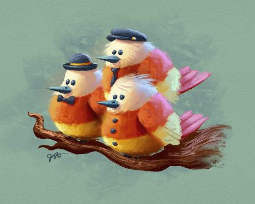 Cartoon birds painting