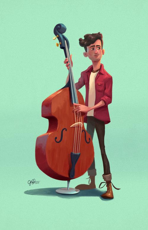 Cartoon man playing cello