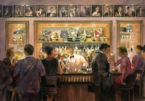 Watercolour painting of people in bar