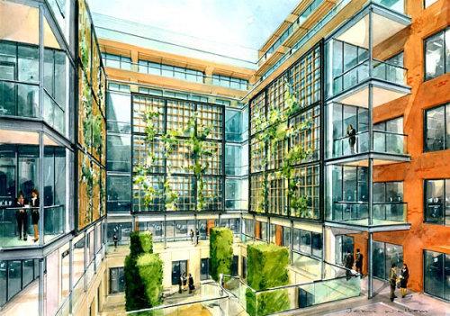 Architecture painting of luxury apartment Silbury Boulevard, London