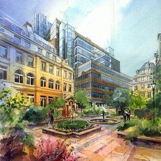 Watercolor architectural renderings