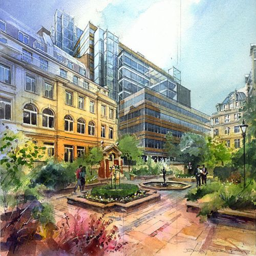Watercolor architectural renderings