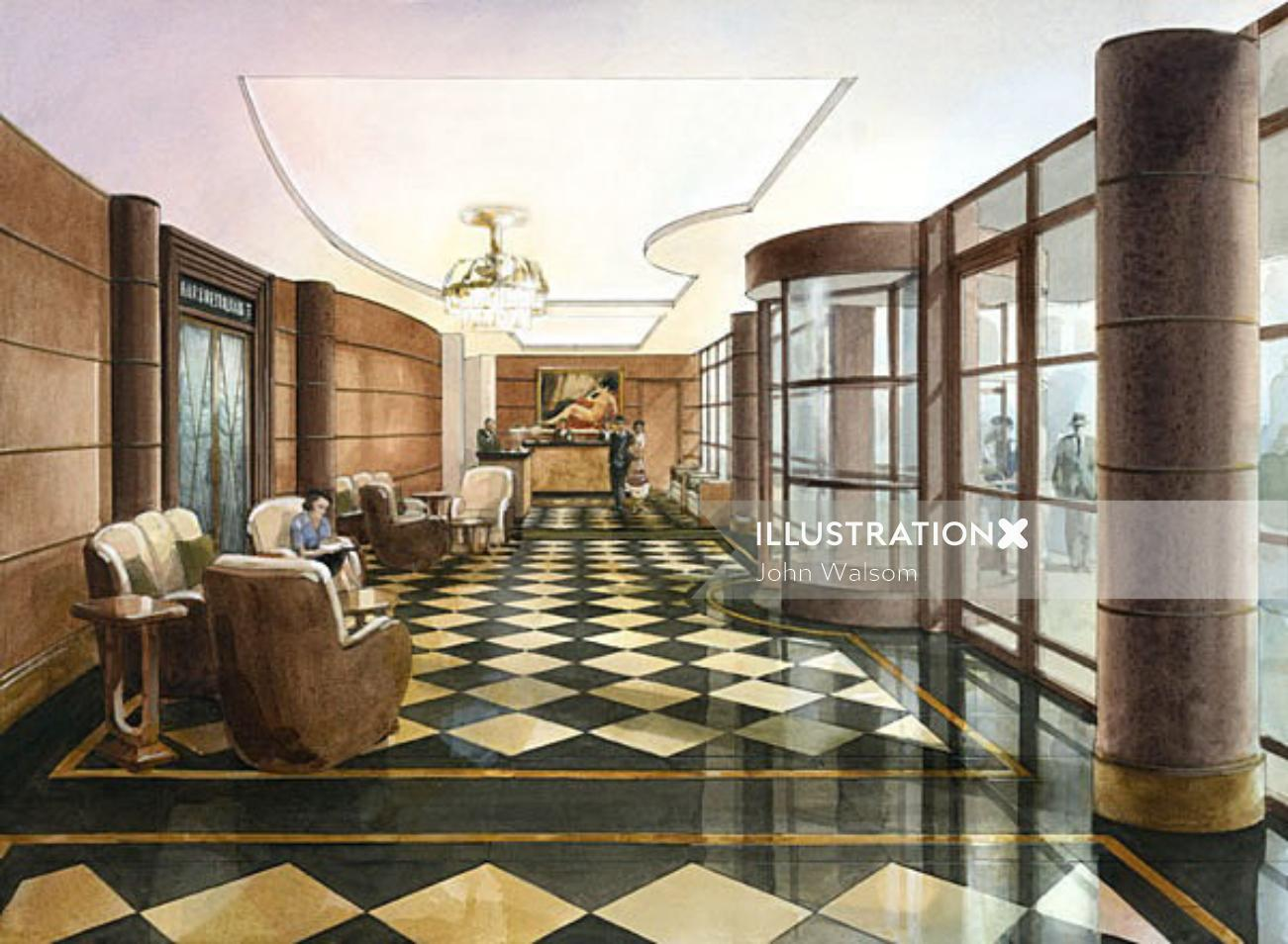 Lobby of the Beaumont hotel architectural illustration
