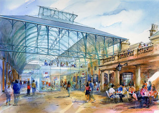 Commercial building watercolor illustration