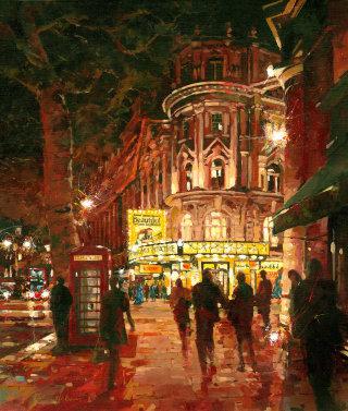 People Walking City Street at Night