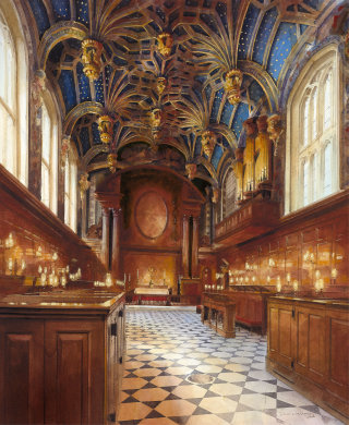 Interior design painting of court palace