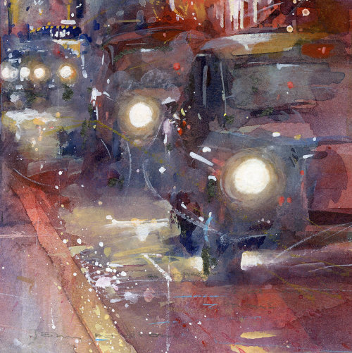 West End Taxis painting by John Walsom