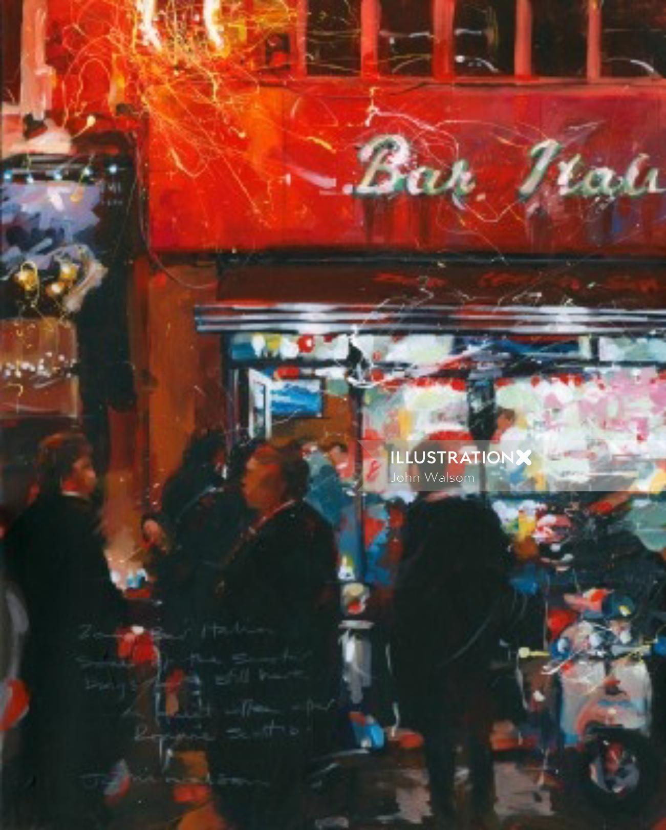 Bar Italia contemporary art by John Walsom