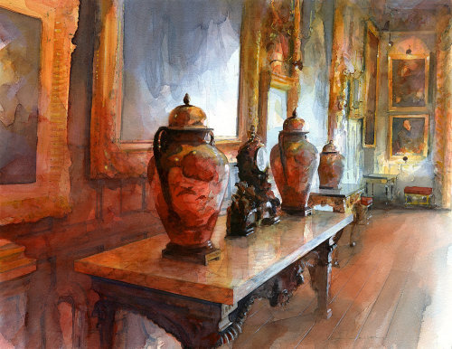 Watercolour Artwork of The Ballroom at Knole