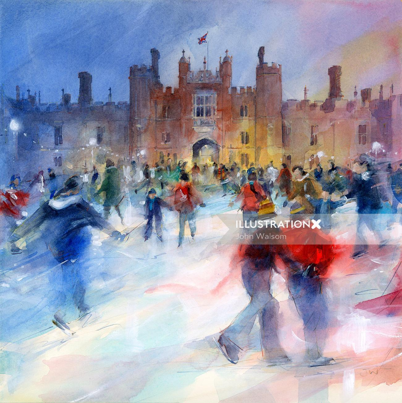 Ice Skating at Hampton Court Watercolour Illustration