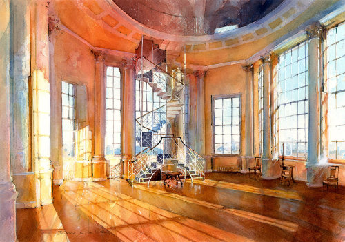 "Radcliffe Observatory Interior Painting For ""Oxford Almanack"""
