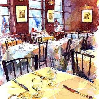 The French House Restaurant - Architectural sketch