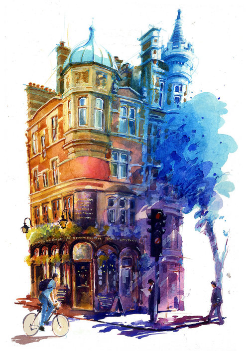 Architectural Acrylic Painting of The Bloomsbury Pub