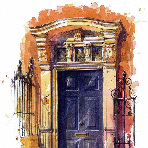 Front door painting by UK based illustrator