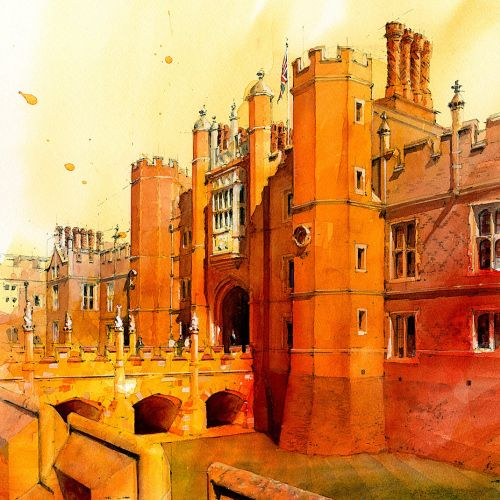 Architectural Illustration of Hampton Court Palace