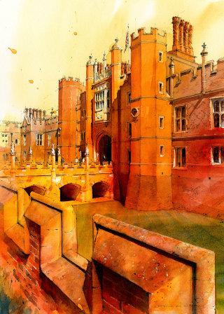 Architectural Illustration of Hampton Court Palace