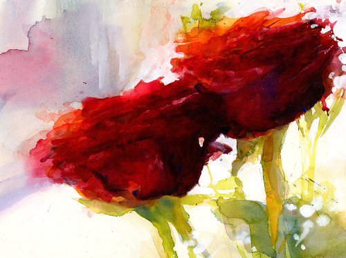 Two Roses Watercolour painting