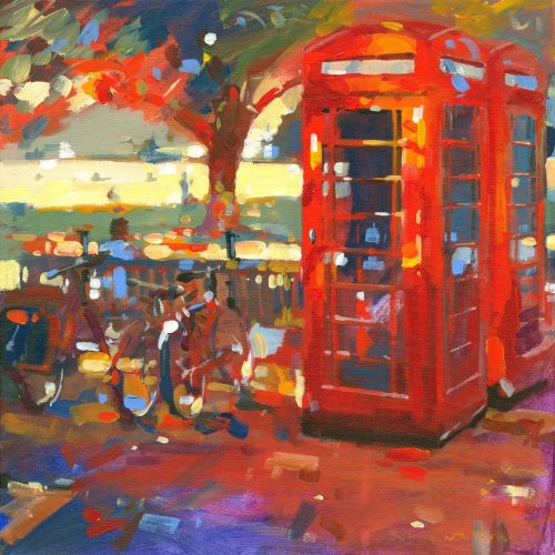 Oil painting of Phone Boxes at Richmond Green