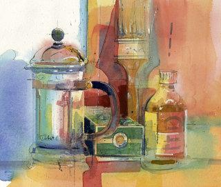 illustration of art shelf