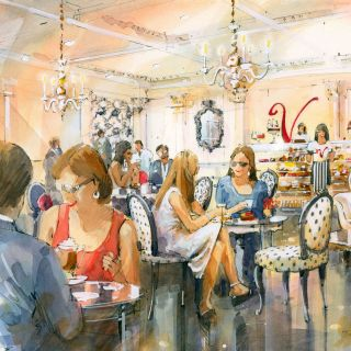 Cafe interior watercolour sketch for Patisserie Valerie