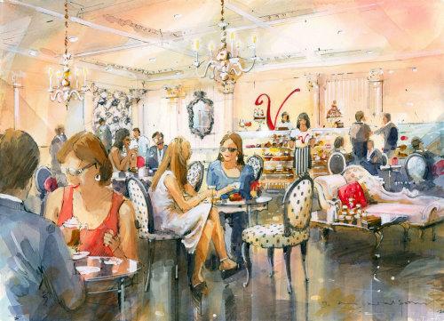 Realistic art of Patisserie Valerie Cafe Interior