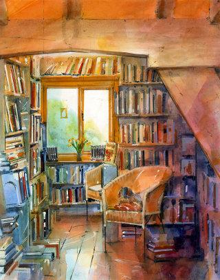 Illustration of bookshop interior