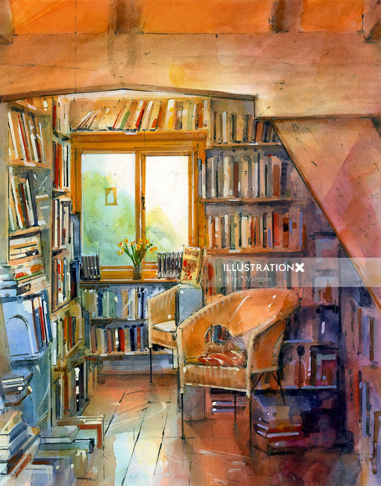 Illustration of bookshop interior