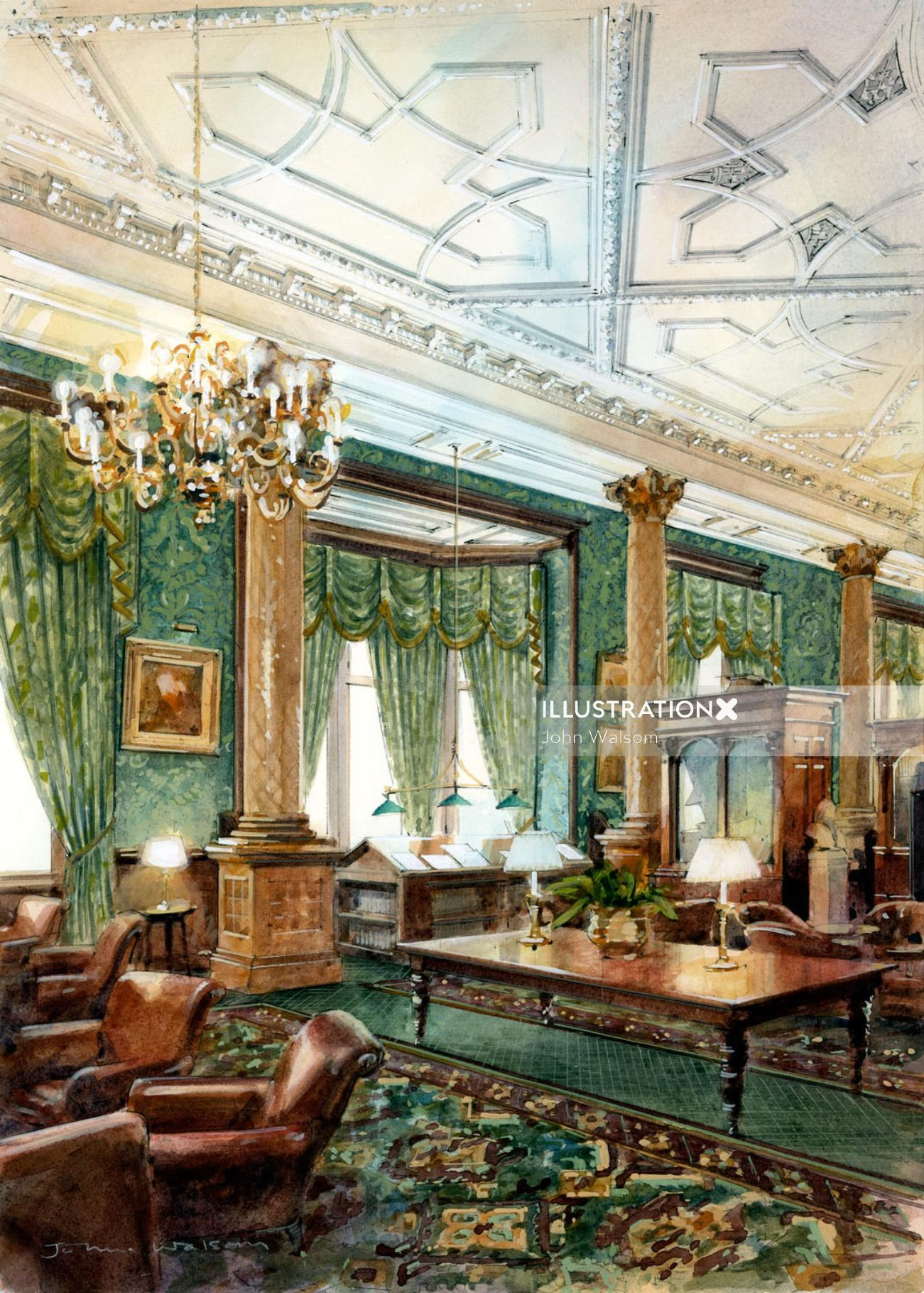 Interior of The National Liberal Club Painting