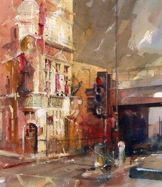 Oil painting of Blackfriar's Pub in London