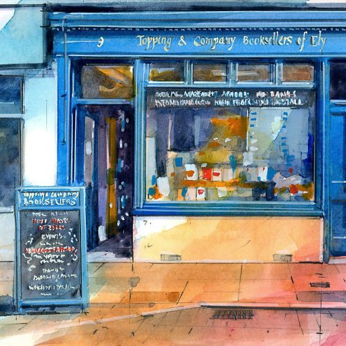 Topping & Company Bookshop Exterior Watercolour Illustration
