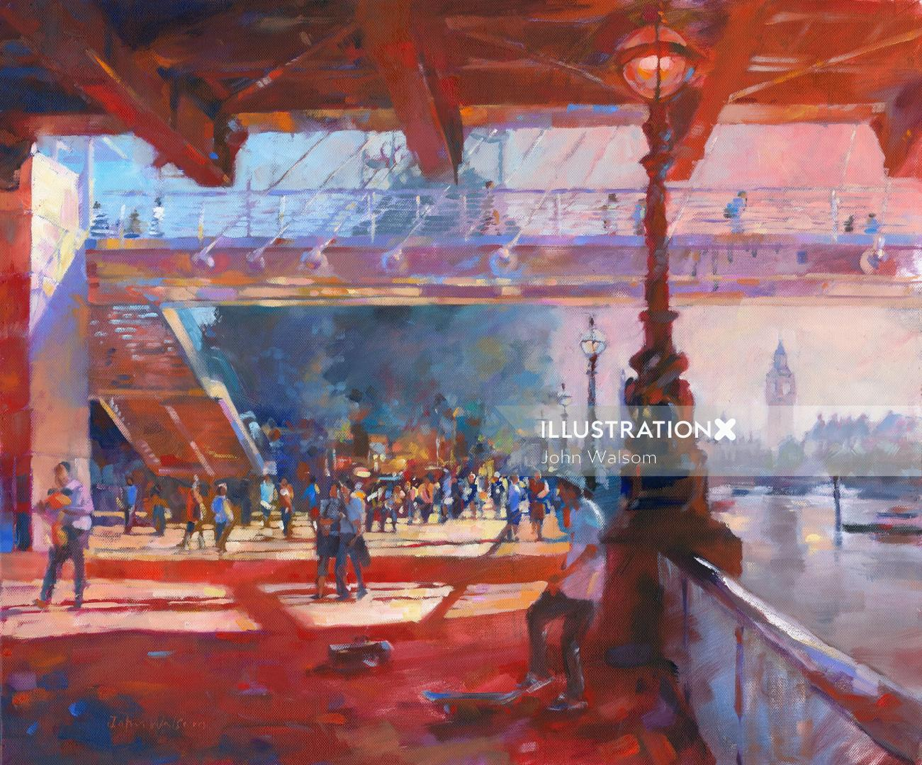 SouthBank in summer painting by John Walsom
