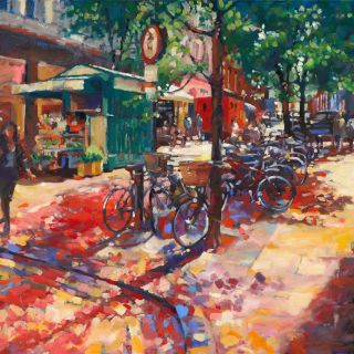 Watercolor illustration of street