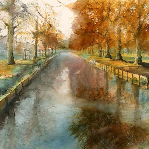 Watercolour of autumn scene in Bushy Park