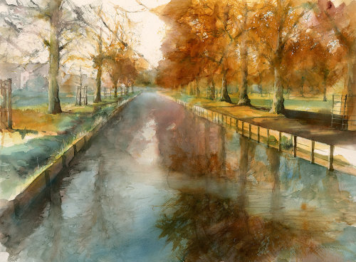 Watercolour of autumn scene in Bushy Park