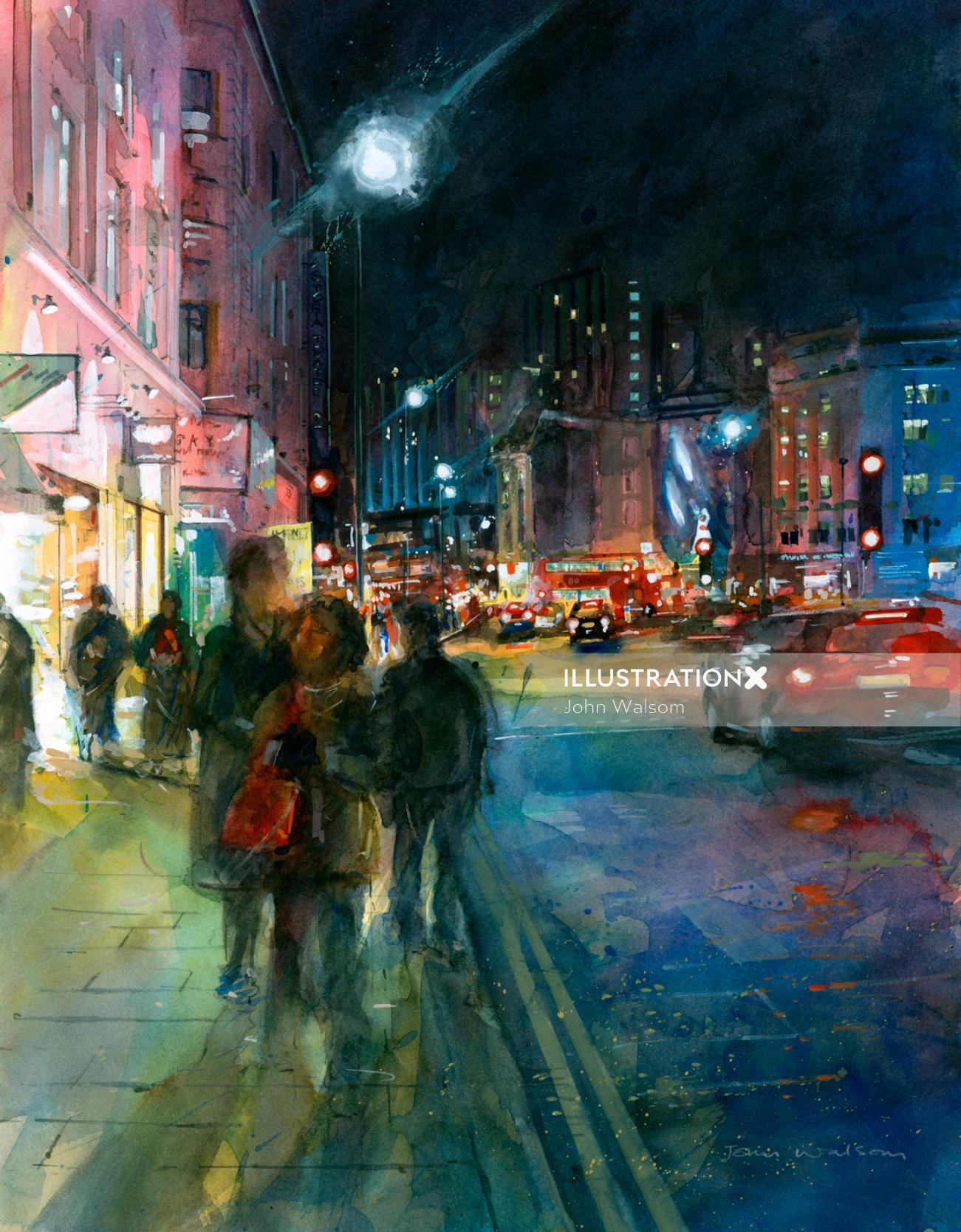 Watercolour painting of Charing Cross Road