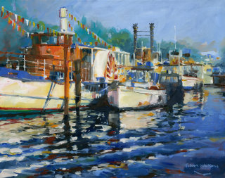 Oil painting of Riverboats on the Thames in Kingston