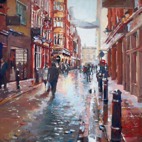 Oil painting of Floral street after the rain