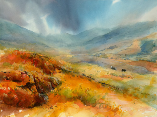 A large watercolour of the Lake District and an approaching storm