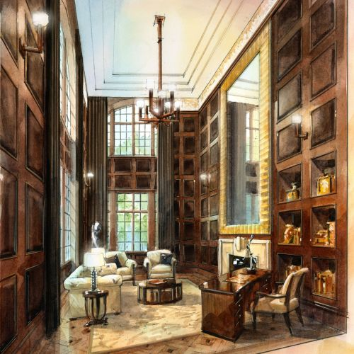 A watercolour illustration of a proposed Library and Study in a private home.