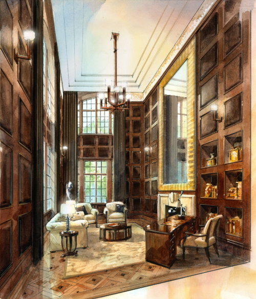 Library interior line and wash illustration