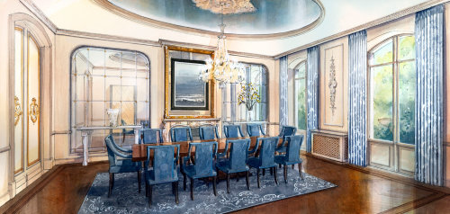 Dinning room watercolor painting