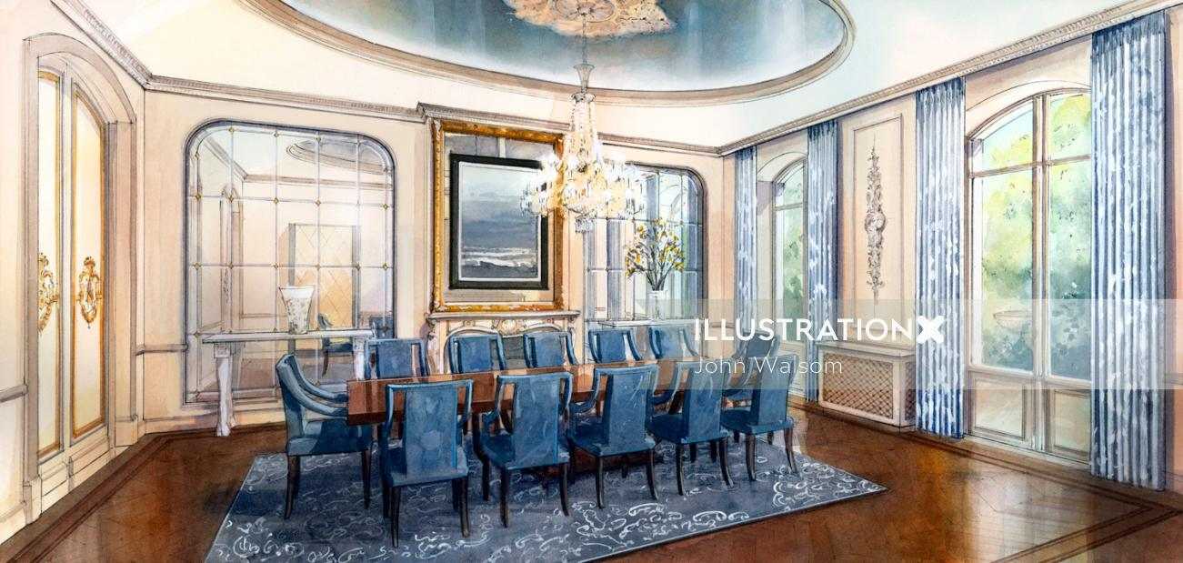 A watercolour of the design for a proposed dining room in a private house.