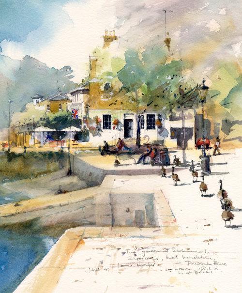 Richmond Riverside watercolor illustration