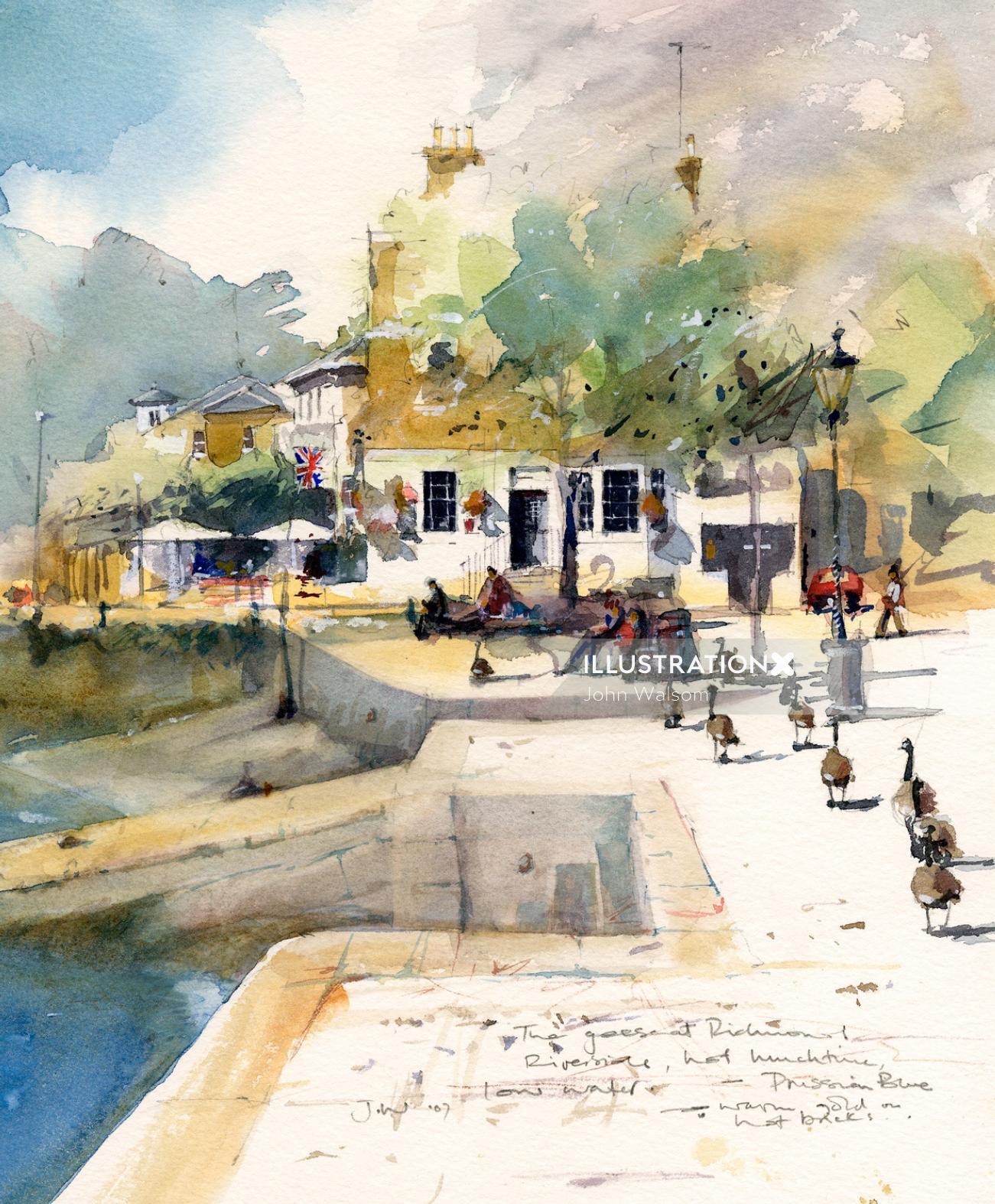 Watercolour of Richmond River Thames