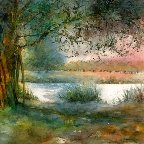 Watercolour painting of the Overflow Pond in Home Park near Hampton Court Palace