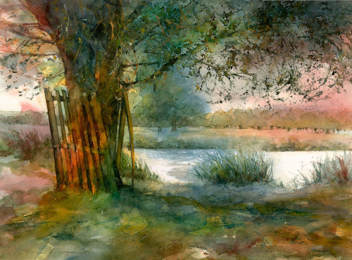 Realistic painting of Overflow Pond in Home Park, Hampton