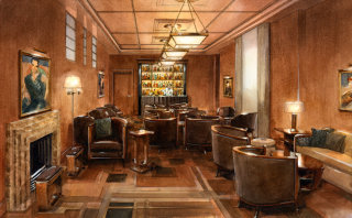 Beaumont hotel interior watercolour painting