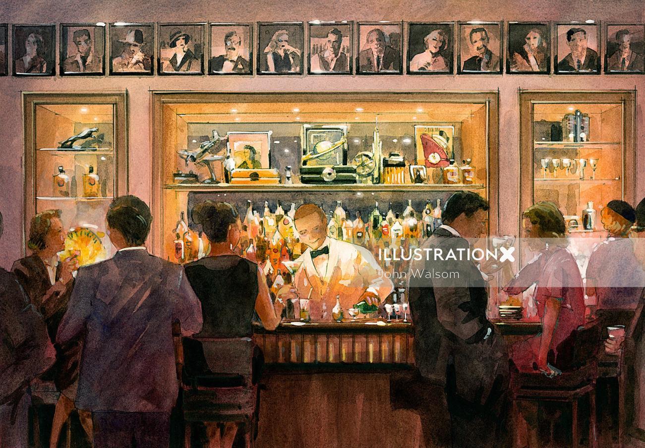 Retro Hotel Bar watercolor illustration