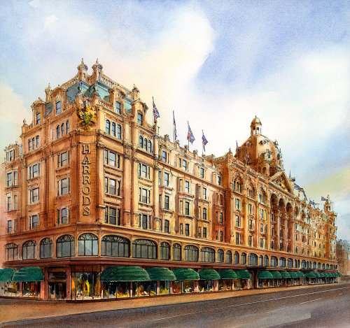 Acrylic painting of Harrods building