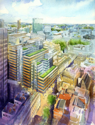 Aerial view of London cityscape illustration
